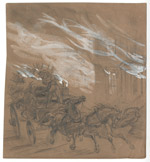 Trying to Save a Wagonload of Goods; Alfred R. Waud, Pencil, Chalk, and Paint Drawing, 1871 (ichi-37787)