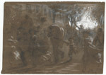 """Fleeing from the burning city""; Alfred R. Waud, Pencil, Chalk, and Paint Drawing, 1871 (ichi-37788)"
