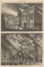 Chicago in Flames--Burning of the Chamber of Commerce and the Crosby Opera House; from Harper's Weekly, October 28, 1871 (ichi-63127)