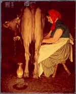 Mrs. Catherine O'Leary Milking Daisy; Norman Rockwell, Oil on Canvas, ca. 1935 (ichi-64474)