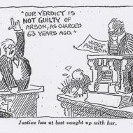 Justice Has at Last Caught Up with Her; John T. McCutcheon, Editorial Cartoon, Chicago Daily Tribune, October 9, 1934