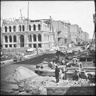 The Rebuilding of the Marine Building; Glass Lantern Slide, ca. 1873 (ichi-02845)