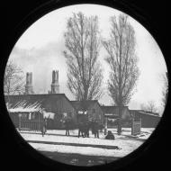 Washington Square Park Relief and Aid Society Barracks; Copelin & Hine, Glass Lantern Slide, ca. 1871 (ichi-2860)