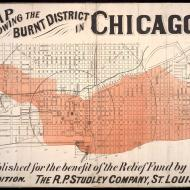 Map Showing the Burnt District in Chicago, 3rd Edition; R. P. Studley Company, 1871 (ichi-02870)