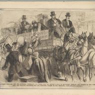 Aid for the Suffering Thousands--Col. Jim Fisk Jr. Drives a Team; Engraving, 1871 (ichi-02873)