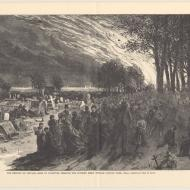 Rush of fugitives through the Potter's Field toward Lincoln Park; Based on a Sketch by Theo R. Davis, from Harper's Weekly, November 4, 1871 (ichi-02881)