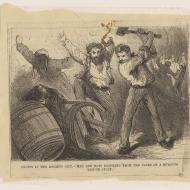 Orgies in the Doomed City--Men and Boys Drinking from the Casks of a Burning Liquor Store; Engraving, 1871 (ichi-02897)