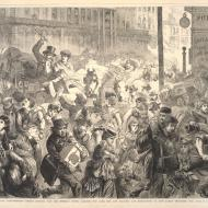 The Great Fire in Chicago: Panic-stricken Citizens Rushing Past the Sherman House, Carrying the Aged, Sick and Helpless, and Endeavoring to Save Family Treasures; from Frank Leslie's Illustrated Newspaper, October 28, 1871 (ichi-20909)