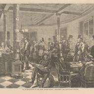 The Reading Room of the Fifth Avenue Hotel--Discussing the News from Chicago; from Every Saturday, October 28, 1871 (ichi-02916)