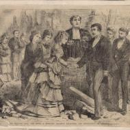 The Wedding Amid The Ruins--A Romantic Incident Following the Destruction Of Chicago; Engraving, 1871 (ichi-02931)