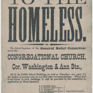 To The Homeless; Broadside, October 16, 1871 (ichi-06194)