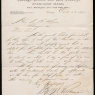 Special Request, 2; Letter of George M. Pullman to Mayor Roswell B. Mason, October 23, 1871 (ichi-63788)