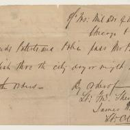 A Pass for Percy English; Handwritten Order, October 16, 1871 (ichi-63789)