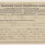 Draft of Western Union Telegram from Lieutenant-General Philip H. Sheridan to Secretary of War W. W. Belknap, October 9, 1871 (ichi-64136)