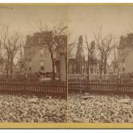 Residence of M.D. Ogden Showing the Ruins of Unity and New England Churches; Stereograph, 1871 (ichi-64159)