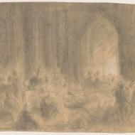 The Homeless Taking Refuge in a Church; Alfred R. Waud, Pencil and Chalk Drawing, 1871 (ichi-64350)