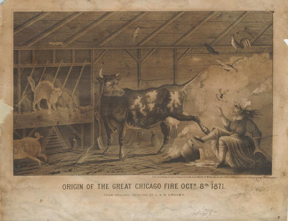 Origin of the Great Chicago fire Oct. 8th 1871; Lithograph from a ...