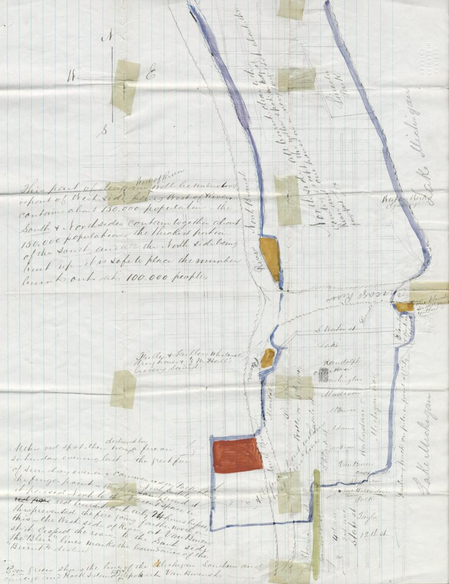 Hand Drawn Map Of The Burnt District From Letter Of Joel Bigelow To
