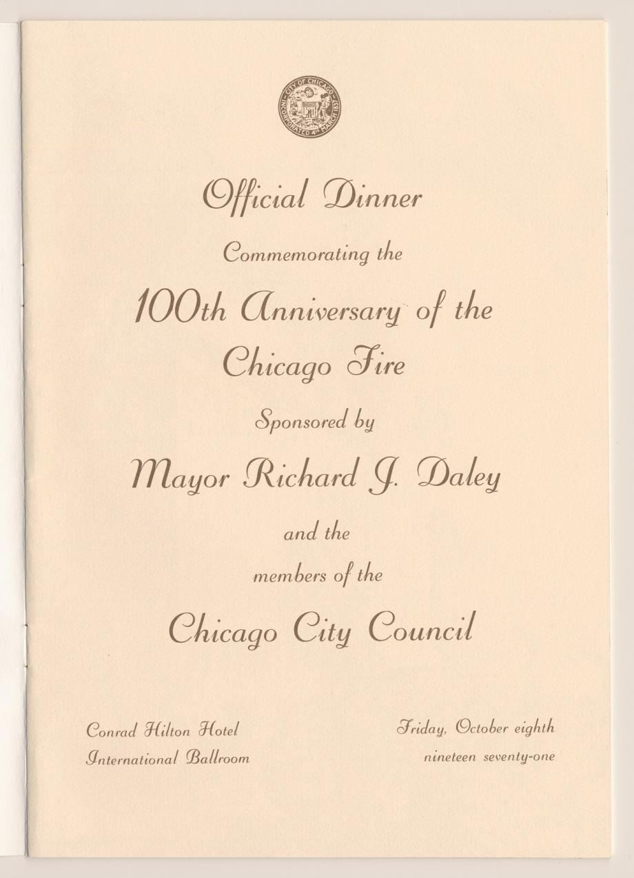 Dinner Program Centennial Dinner Program