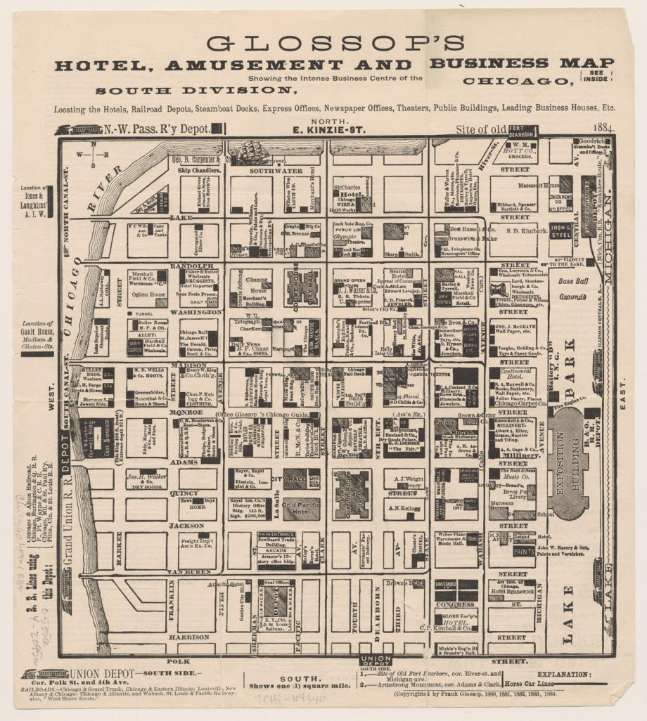 Glossop's Hotel, Business, and Amut Map; Frank Glossop, 1884 ... on