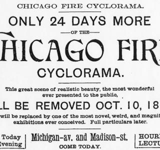Advertisement for Chicago Fire Cyclorama; from Chicago Daily Tribune, September 17, 1893