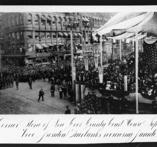 Laying the Cornerstone of the New Cook County Courthouse and City Hall, September 21st, 1906--Vice President Fairbanks Leading the Parade; Barnes-Crosby, Photograph (ichi-19264)