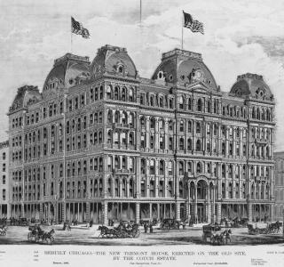 Rebuilt Chicago--The New Tremont House, Erected on the Old Site, by the Couch Estate; ca.1873 (ichi 00772)