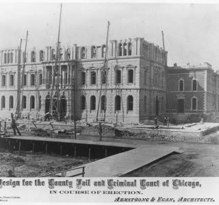 Cook County Courthouse and Jail under Construction; Photograph, ca. 1874 (ichi-02021)