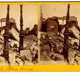 Ruins of Crosby's Opera House; Stereograph, 1871 (ichi-02767)