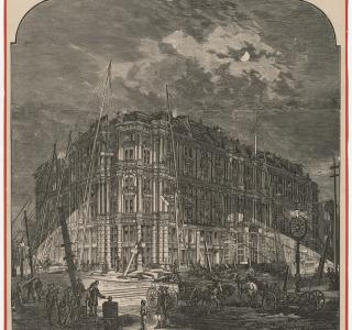 Working at Night on Palmer's Grand Hotel, by Calcium Light; Engraving, ca. 1872 (ichi-02930)