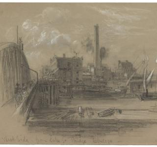 """West Side from Lake St. Bridge Chicago""; Alfred R. Waud, Pencil and Chalk Drawing, 1871 (ichi-02979)"