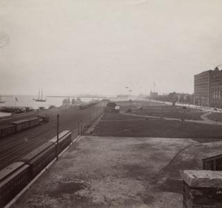 View South of Michigan Avenue from the West Side of the Illinois Central Railroad Tracks; J. W. Taylor, Photograph, ca. 1890 (ichi-20505)