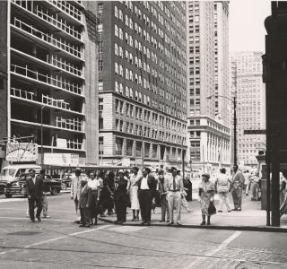 La Salle Street from the Southeast Corner of Washington Street; J. Sherwin Murphy, Photograph, 1954 (ichi-21499)
