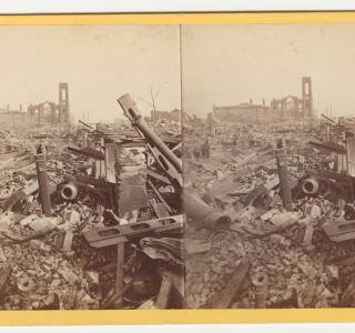 Ruins of the Mammoth Store of Field & Leiter; Lovejoy & Foster, Stereograph, 1871 (ichi-21537)