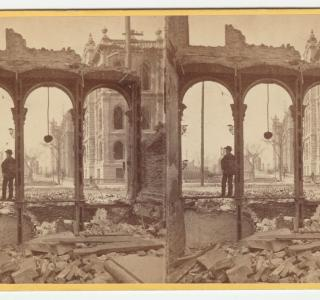 Among the Ruins in Chicago: Court House Seen Through Ruins of East Side of Clark Street; G. N. Barnard, Stereograph, 1871 (ichi-21546)