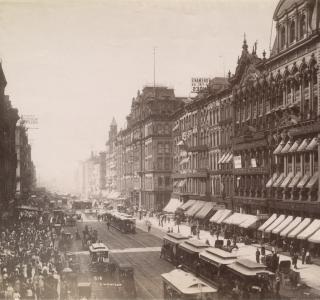 State Street looking north from Madison Street; J. W. Taylor, Photograph, ca. 1890 (ichi-22260)