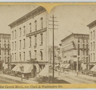 First Methodist Episcopal Church Block before the Fire; Lovejoy & Foster, Stereograph, ca. 1871 (ichi-22330)