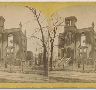 George F. Rumsey Home after the Fire; P. B. Greene, Stereograph, 1871 (ichi-29594)