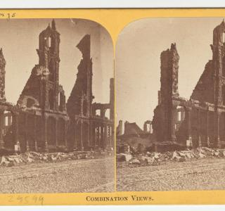 Booksellers' Row after the Chicago Fire; Lovejoy & Foster, Stereograph, 1871 (ichi-29599)