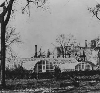 Ezra B. McCagg Conservatory and Residence after the Fire; Photograph, 1871 (ichi-31493)