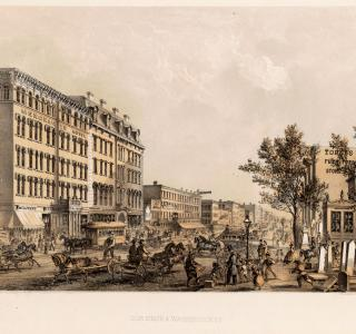 Cor. State and Washington Street; Louis Kurz for Jevne & Almini, Lithograph, 1866-67 (ichi-31532)