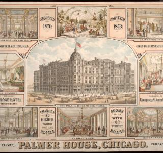 Palmer House Chicago; American Oliograph Company, Lithograph, 1873 (ichi-39476)
