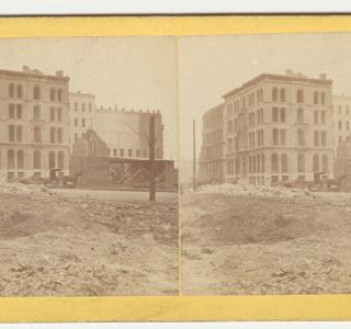 Nixon Building after the Fire; Warren R. Hansen, Stereograph, 1871 (ichi-39576)