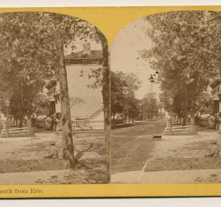View North on Pine Street (now Michigan Avenue) to the Water Tower before the Fire; P. B. Greene, Stereograph, 1871 (ichi-39581)