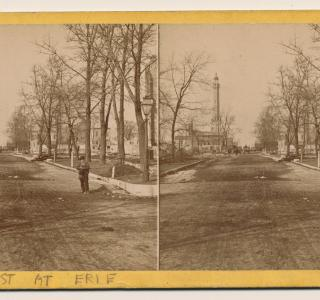 View North on Pine Street (now Michigan Avenue) to the Water Tower after the Fire; P. B. Greene, Stereograph, 1871 (ichi-39582)