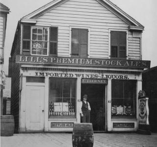 Lill's Premiun Stock Ales, 167 State St. (now 101 S. State Street); Potter Palmer Real Estate Album, Photograph, 1868-69 (ichi-39659)