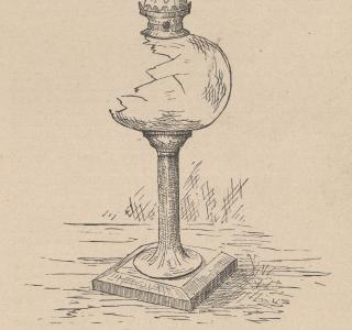 Lamp Found in O'Leary's Barn; from A. T. Andreas, History of Chicago, vol. 2, 1885 (ichi-51076)