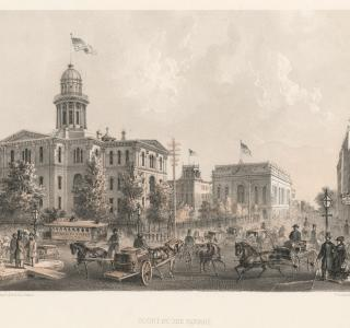Courthouse Square; Louis Kurz for Jevne & Almini, Lithograph, 1866-67 (ichi-62080)