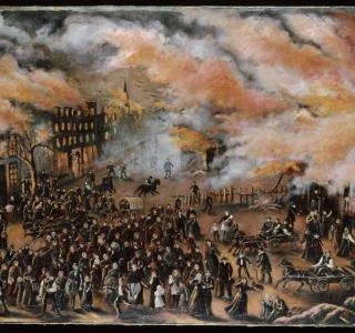 Memories of the Chicago Fire; Julia Lemos, Oil Painting, 1912 (ichi-62293)