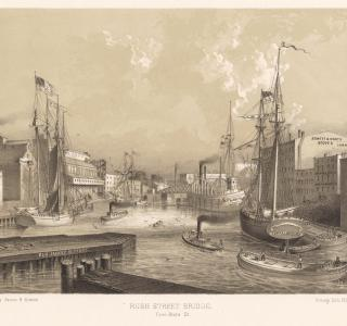 Rush Street Bridge from State St; Louis Kurz for Jevne & Almini, Lithograph, 1866-67 (ichi-63087)